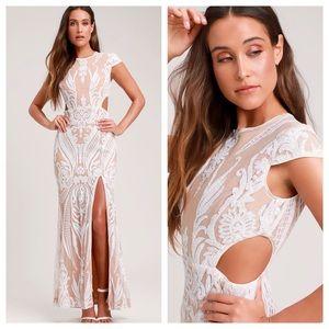 RYSE Emily White & Nude Sequin Cutout Maxi Dress S